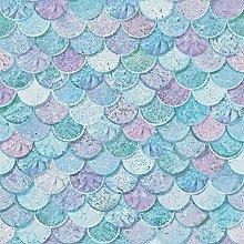 Mermazing Scales Wallpaper, Blue - 698305 -