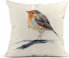 Merpoa Cushion Cover Linen Print Colorful Robin