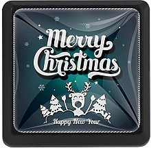 Merry Christmas Lettering Square Cabinet Knobs