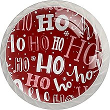 Merry Christmas Red 4 Pack Glass Knobs for Dresser