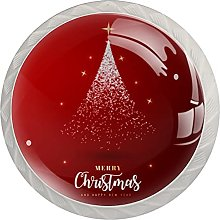 Merry Christmas (Set of 4) Glass Cabinet Knobs