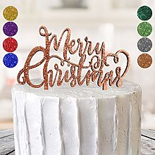 Merry Christmas Themed Cake Topper MDF Glitter 8