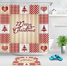 Merry Christmas Waterproof Fabric Shower Curtain
