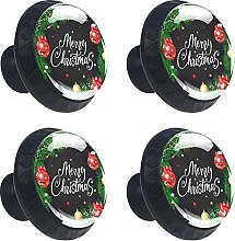 Merry Christmas with Baubles 4PCS Round Drawer