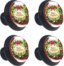 Merry Christmas with Red Background 4PCS Round