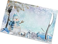Merry with Elegant Snowman Placemats Table Mats