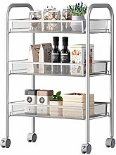 Mesh Wire 3 Tier Rolling Cart, Kitchen Storage