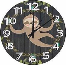 Mesllings 12 Inch Round Wooden Wall Clock, Sloth