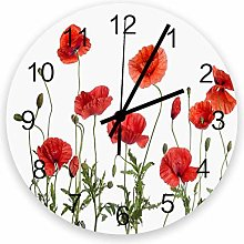 Mesllings 12 Inches Round Wooden Wall Clock, Red