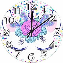 Mesllings 9.84 Inch Round Wooden Wall Clock,