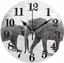 Mesllings Funny Black White Elephant Round Wall