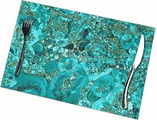 Mesllings Marble Turquoise Blue Gold Placemat
