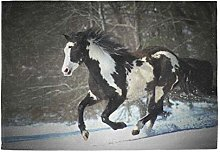 Mesllings Placemat Easy to Clean Horse Winter Snow