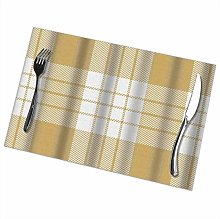 Mesllings Placemats Check Plaid Yellow White