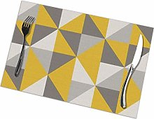 Mesllings Retro Triangle Design In Yellow And Grey