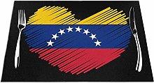 Mesllings Venezuelan Flag In Heart Shape Placemats