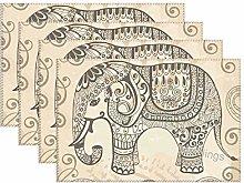Mesllings Vintage Patterned Elephant Place Mats