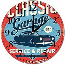 Mesllings Wall Clocks Classic Garage Vintage Round