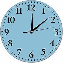 Mesllings Wall Clocks Dark Sky Blue Round Glass