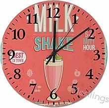 Mesllings Wall Clocks MilkShake Round Wooden Wall