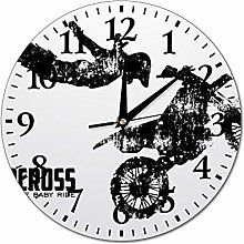 Mesllings Wall Clocks Motorcross Round Glass Wall