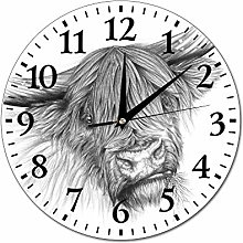 Mesllings Wall Clocks Portrait of A Highland Cow -