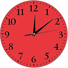 Mesllings Wall Clocks Red Round Glass Wall Clock,