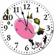 Mesllings Wall Clocks The Cow Moo Round Glass Wall