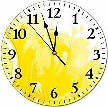 Mesllings Wall Clocks The Yellow Watercolor Lemon