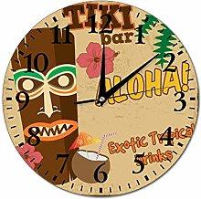 Mesllings Wall Clocks Tiki Bar Round Glass Wall