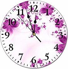 Mesllings Wall Clocks Vintage Purple Flowers Round