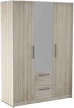 Messina Mirror Wardrobe In Shannon Oak And Linen