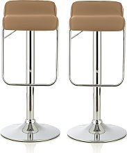 Mestler Modern Bar Stool In Taupe Faux Leather In