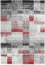 Met Blocks Rug, 133 cm x 190 cm, Grey/Red