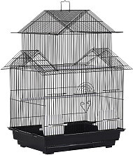 Metal Bird Cage with Plastic Perch Food Container