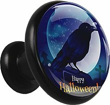 Metal Black Cabinet Knobs Halloween Crow 4 Pieces
