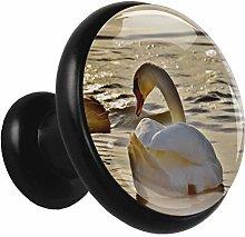 Metal Black Cabinet Knobs Lake Swan 4 Pieces Bar