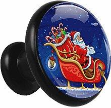 Metal Black Cabinet Knobs Snow Christmas 4 Pieces