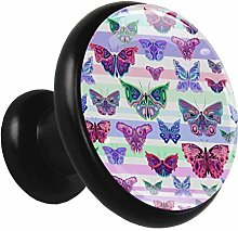 Metal Black Cabinet Knobs Watercolor Butterfly 4