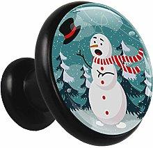 Metal Black Cabinet Knobs Winter Snowman 4 Pieces
