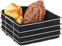 metal bread basket with lining, modern breakfast