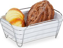 metal bread basket with lining, square breakfast