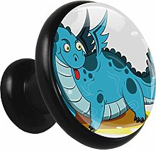 Metal Cabinet Knobs Pulls Dinosaur Blue Round
