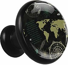 Metal Cabinet Knobs Pulls Map Compass Round