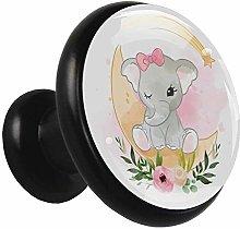 Metal Cabinet Knobs Pulls Moon Cartoon Elephant