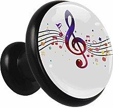 Metal Cabinet Knobs Pulls Music Note Purple Round