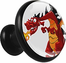 Metal Cabinet Knobs Pulls Red Fire-Breathing