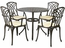 Metal Cast Aluminium 5 Piece Garden Furniture