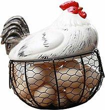 Metal Chicken Egg Basket with Durable Fruit Snacks
