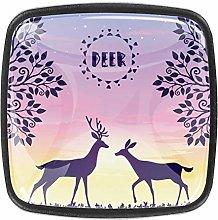 Metal Dresser Two Stylized Deer Walk During A